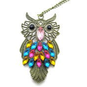 Libaraba(TM) Vintage Colourful Crystal Studded Owl Long Sweater Necklace,Cute Owl Necklace