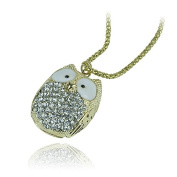 Libaraba(TM) Luxury Full Rhinestone Studded Owl Necklace,Blink Long Sweater Necklace