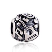 Guitar 925 Sterling Silver Charm Bead for Pandora European Charm Bracelets