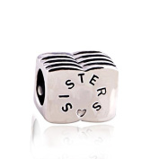 Sister 925 Sterling Silver Charm Bead for Pandora European Charm Bracelets