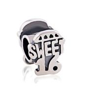 Sweet 16 Girl Birthday Gift Bead 925 Sterling Silver Charm for Pandora European Charm Bracelets