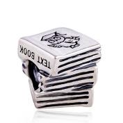 Owl Study Book Graduation 925 Sterling Silver Charm Bead for Pandora European Charm Bracelets
