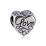 Love Heart 925 Sterling Silver Charm for Pandora European Charm Bracelets