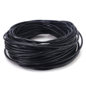 BEADNOVA 2mm Black Genuine Round Leather Cords For Bracelet Necklace Jewellery Making 10meter /11yard
