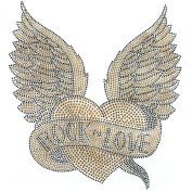 Rhinestone Transfer Hot Fix Motif Fashion Design Gold Love Heart with Wings Deco 1 Sheets 9.4*25cm