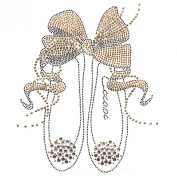 Rhinestone Transfer Hot Fix Motif Fashion Design Jewellery Deco Ribbon Shoes 1 Sheets 9.4*29cm