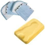 Summer Infant Comfy Bath Sponge with 4 Pack Organic Washcloths, Blue