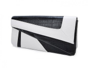 Deshiny White Black Serpentine Leather Clutch Bag