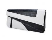 Deshiny White Black Serpentine Leather Clutch Bag