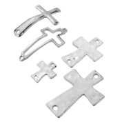 Beadnova Vintage Assorted Silver Plated Various Cross Bracelet Necklace Charm Connector for Jewellery Making