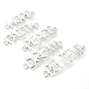 Beadnova Assorted Silver Plated HOPE FAITH PEACH DREAM BELIEVE Sideway Word Letter Charm Connector Pendant Mix Lot For DIY Bracelet