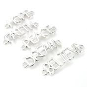 Beadnova Assorted Silver Plated HOPE FAITH PEACH DREAM BELIEVE Sideway Word Letter Charm Connector Pendant Mix Lot For DIY Bracelet