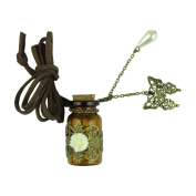 Voberry New Vintage Hollow Flower Butterfly Pearl Wishing Bottle Pendant Long Chain Leather Necklace