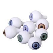 8 PCs Round Acrylic Doll Eyes Eyeballs Halloween Props 18mm
