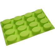 16 Oval Cavities Soap Cupcake Chocolate Baking Candy Maker Tray Silicone Mould