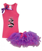 Girls Birthday Party #3 Hot Pink Top Chiffon Tutu Set By Bubblegum Divas