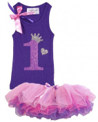 Baby Girls 1st Birthday Toddler Tank Top Shirt Set By Bubblegum Divas