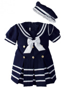 Baby Toddler Girls Nautical Sailor Dress with Hat