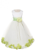 21 Colours Satin Bodice Communion Flower Girl Pageant Petal Dress