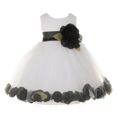 Cinderella Couture Baby Girls' Delicate White Tulle Petal Flower Girl Dress