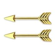 "Arrow Design Nipple Barbell in Surgical Steel - 14g (1.6mm), 1/2"" Length - Sold As a Pair- Body Mind Tm Nipple Ring Bars Arrow Body Jewellery Pair 14 Gauge 3/4"" Opening"