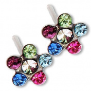 Ear Piercing Earrings Bright Rainbow Daisy Flower Silver Studs Studex System 75 Hypoallergenic