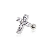 "316l Surgical Steel Clear Multi Cubic Zirconia Cross Stud Cartilage Earring, 16g (1.2mm) Length 1/4"" - Sold Individually"