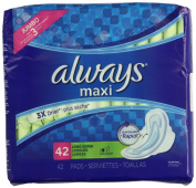 Always Maxi Pads Super W/Flexi-Wings Unscented 42 Count