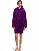 Seven Apparel Hooded Pom Pom Plush Robe, Juicy Grape