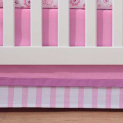 Breathable Baby Pink Mist Stripe Crib Skirt