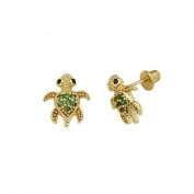 14k Gold Plated Green CZ Turtle Children Stud Earrings with Screw-back