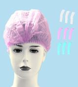 Huini 200pcs Disposable Non-woven Hair Net Cap Mob Elastic Free Size Pink