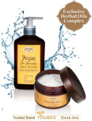 Leave-In Conditioner & Hair Mask Treatment Kit - Natural Moroccan Argan Daily Hair Moisturiser Relaxer Nourishing Cream + Deep Conditioner Therapy for Thin to Normal Hair ? Alcohol Free Hair Products. Unique 2 Products Bundle ? (13 ..