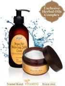 Hair Relaxer Anti-Frizz & Hair Mask Treatment Kit - Natural Moroccan Argan Frizz Control Texturizer Hydrating Hair Styling Lotion + Deep Conditioner Therapy for Normal to Thick Hair ? Alcohol Free Hair Products. Unique 2 Products Bun ..