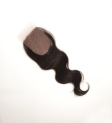 Silk Base Closure Brazilian Hair,10cm x 10cm Body Wave 41cm Hidden Knots ,Middle Part Natural Colour