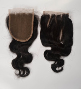 3 Part Closure 41cm Body Wave Virgin Malaysian Hair 120%density Lace Closure Bleached Knots