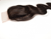 Silk Base Closure Brazilian Hair,10cm x 10cm Body Wave 25cm Hidden Knots ,Middle Part Natural Colour