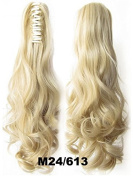 A.H Top Quality Natural Ponytail Look Long Curly Claw Clip Hair Extension Hairpiece #M24/613