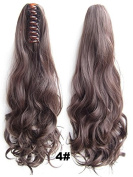 A.H Fashion Girl's Medium Brown #4 Natural Long Wigs Hair Extensions Clip Claw Ponytail