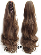 A.H Light Brown #8 Long Clip Claw Ponytail Curls Synthetic Hair Extension Hairpiece