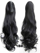 A.H Fashion Ladies Synthetic Hairpiece Long Curly Claw Clip Ponytail Hair Extensions Natural Black #1b
