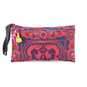 Changnoi MAGENTA Bird Embroidered Hmong Bag Hill Tribe Clutch Bag Thai Handbag Fair Trade