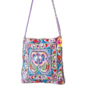 Changnoi Colourful Bird Hmong Tote Hill Tribe Crossbody Bag Square Large Embroidered Strap Fair Trade