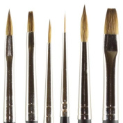 Kolinsky Pure Sable Artist Brush Combo Set Cats 2, Flat 2, 6, Round 5, Liner 10/0, Detail 0