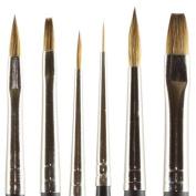 Kolinsky Pure Sable Artist Brush Combo Set Cats 2, Flat 2, 6, Round 5, Liner 10/0, Detail 0
