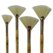 White Bristle Stiff Fan Brush Set Size 2,4,6,8