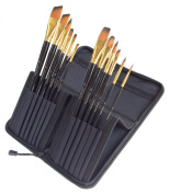 12 Piece Art Brush Set for Oil & Acrylic Paints - Includes Convenient Case/Canvas/Holder - 1 Year HASSLE FREE GUARANTEE - Great for Beginners, Kids, and Professional Artists - Wood Handle Paint Brushes with Synthetic Bristles - Wide Variety of Sizes & ..