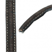 Regaliz Stitched Mini Portuguese Cork Cord, 10x5mm with Synthetic Back, By The Inch, Dark Brown