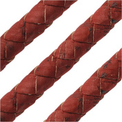 Regaliz Portuguese Cork Cord, Round and Braided 10mm, By The Inch, Red