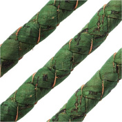 Regaliz Portuguese Cork Cord, Round and Braided 10mm, By The Inch, Grass Green